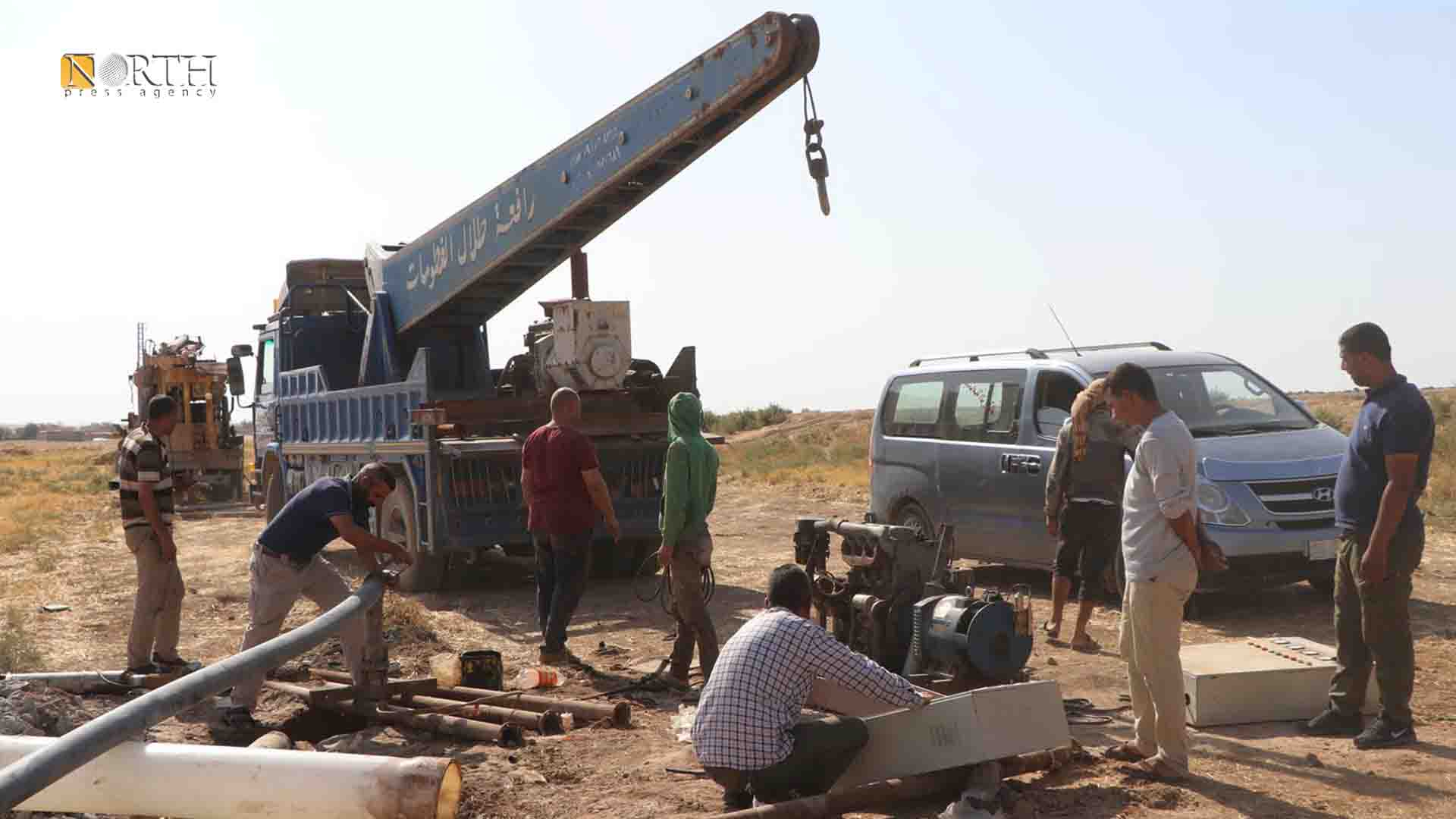 digging wells in the village of Ain al-Abed, east of Tel Tamr, to be an alternative to Alok Water Station, (Photo: North Press)