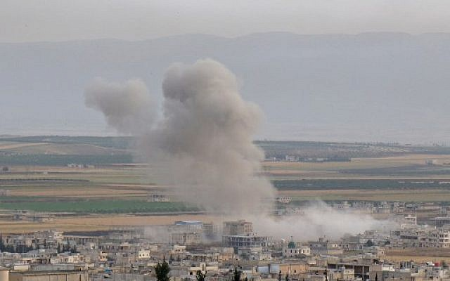 Russian bombardment of the western countryside of Idlib (Photo: Anas al-Dyab/AFP)