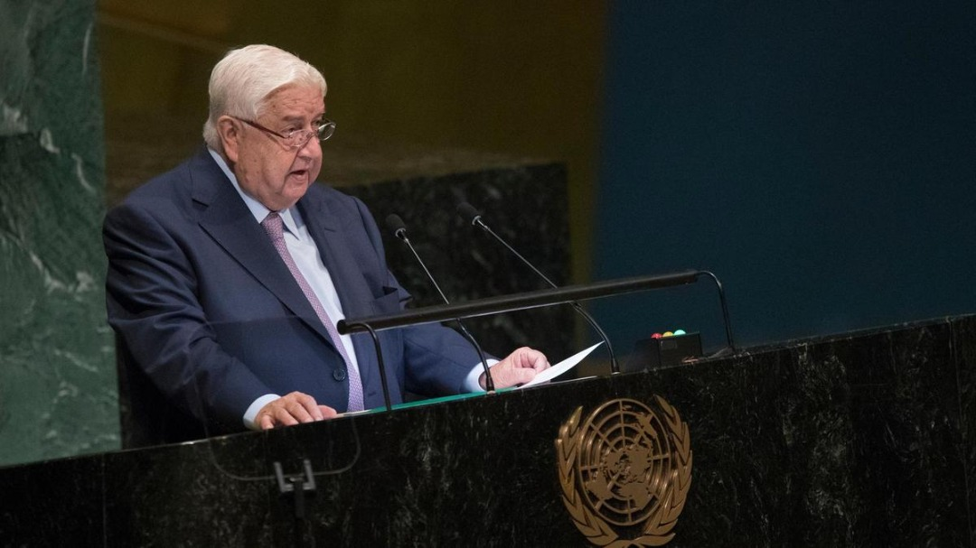 Syrian Foreign Minister Walid Al Muallem addresses the 73rd session of the United Nations General Assembly. (Photo:AP)