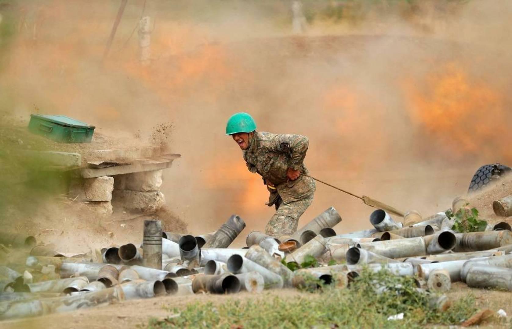 A side of the battles between Azerbaijan and Armenia in Nagorno-Karabakh.