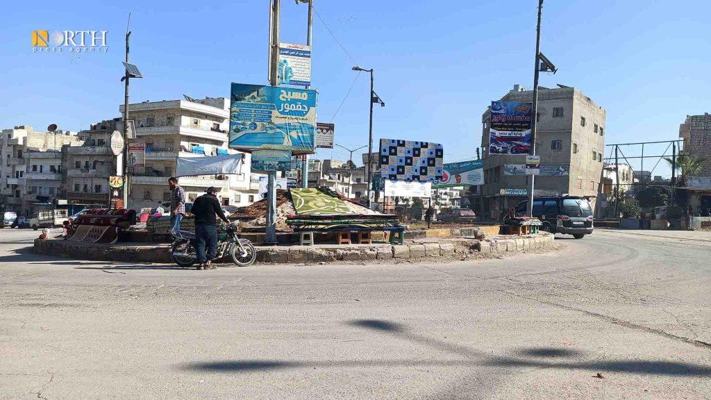 Idlib, Ma'art Mesrin Roundabout in the city of Idlib. North Press.