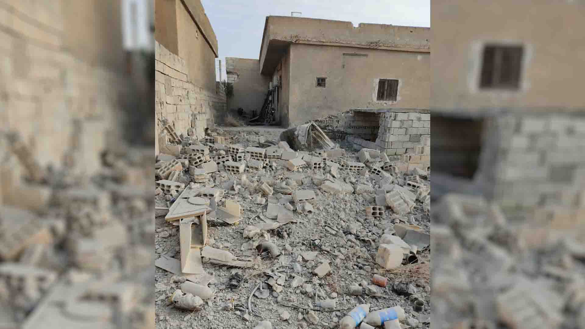 Circulated photos show effects of destruction caused by Turkish bombing on Ain Issa countryside