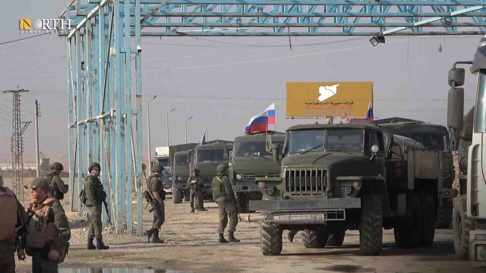 Civilian and Russian vehicles that were prepared to travel to Tel Tamr return to #Syria's Ain Issa