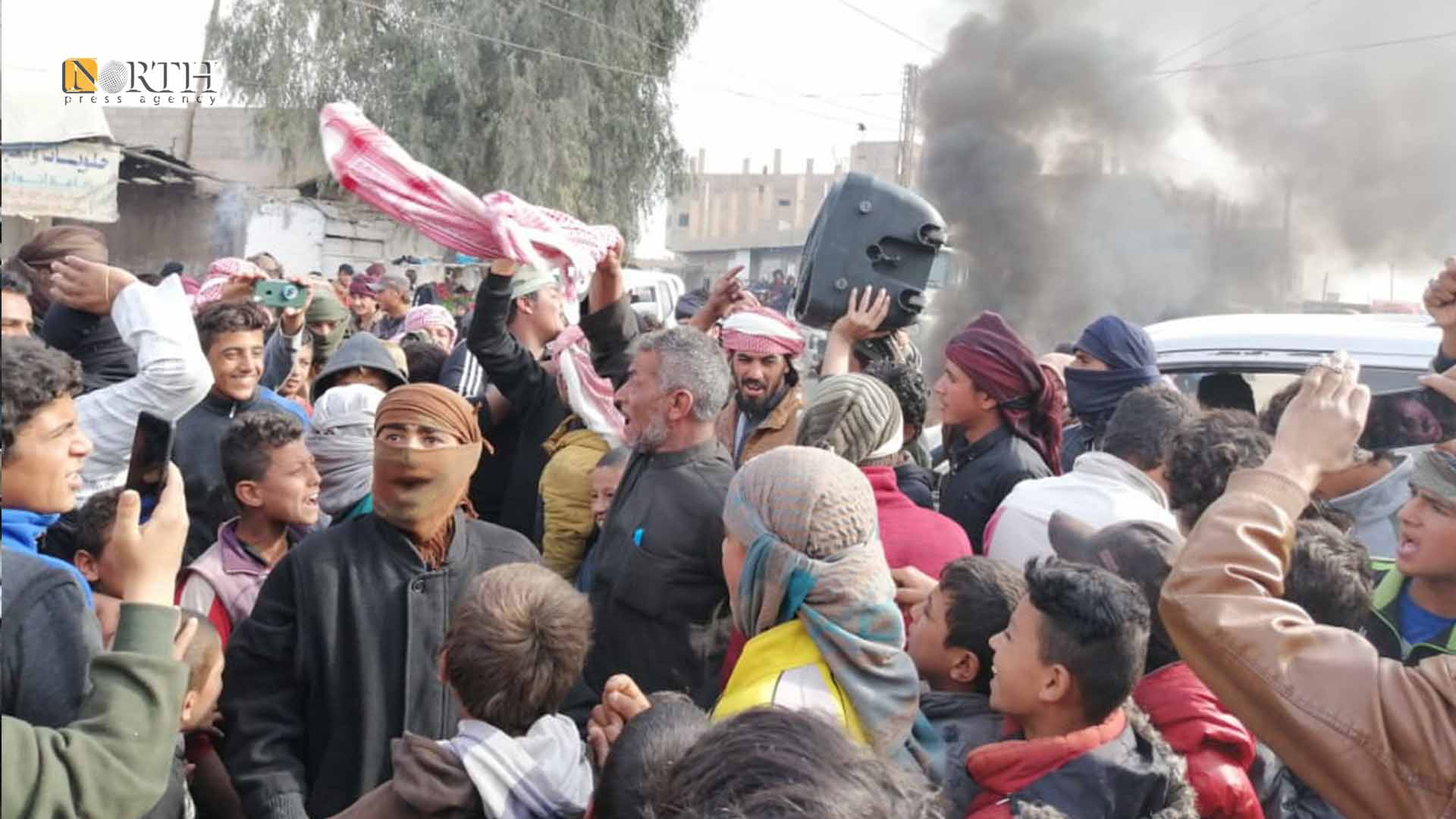 A protest in the town of Abu Hamam, east of Deir ez-Zor