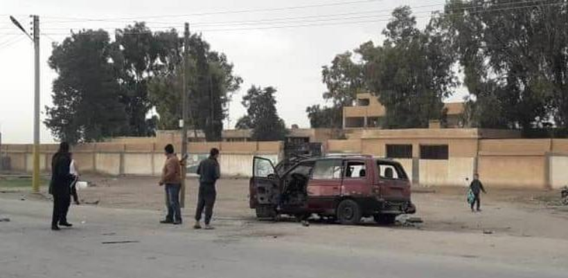 Effects of targeting the car of the head of the local council in the town of Al-Kibar, west of Deir ez-Zor