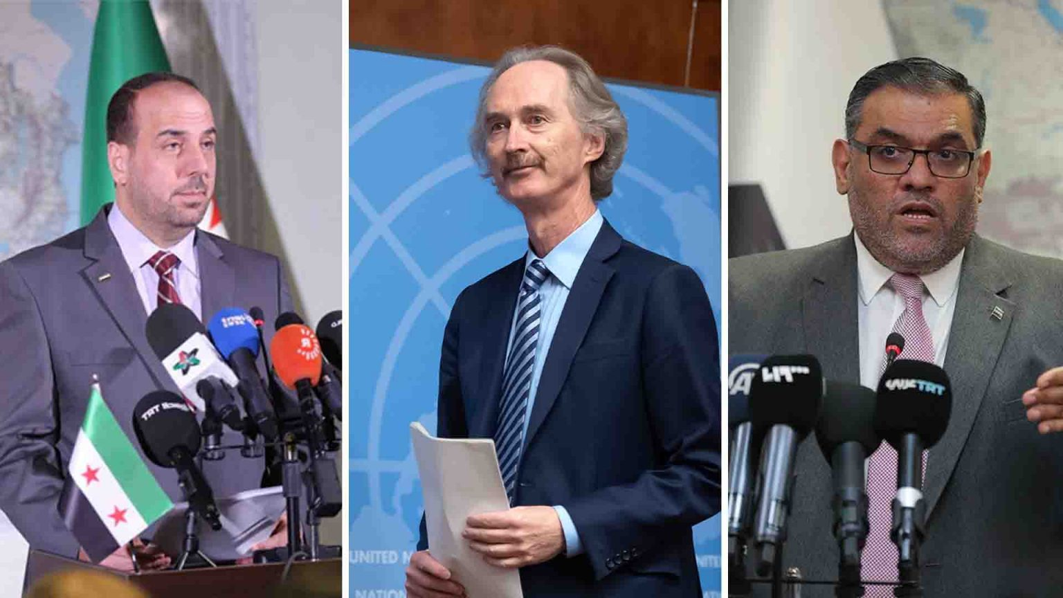 From left to right, Naser al-Hariri (Secretary-General of the Syrian National Coalition), Geir Pedersen (the UN Special Envoy for Syria), Anas al-Abdah (President of the Syrian Interim Government)