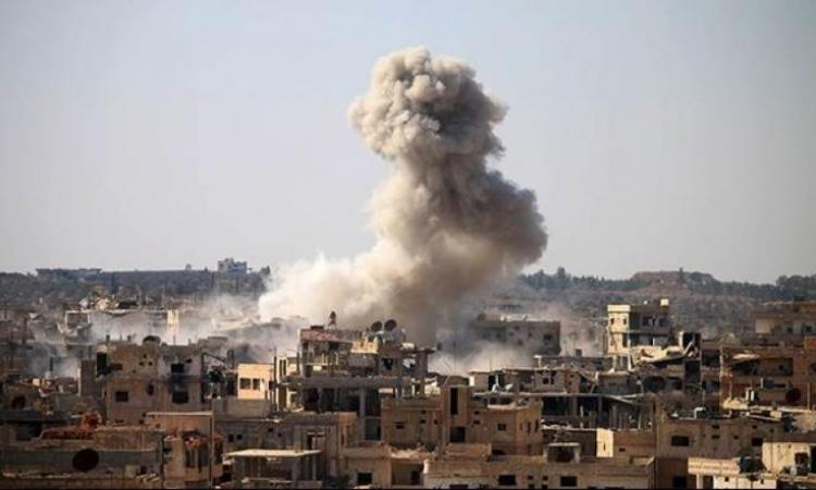 Bombardment of warplanes on the town of Atarib, Aleppo northern countryside