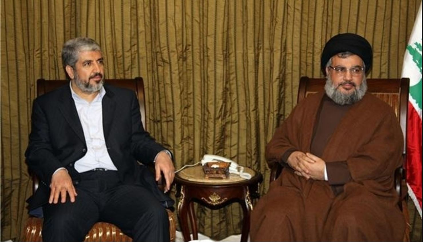 The Secretary General of the Lebanese Hezbollah, Hassan Nasrallah and Khaled Mesha'l