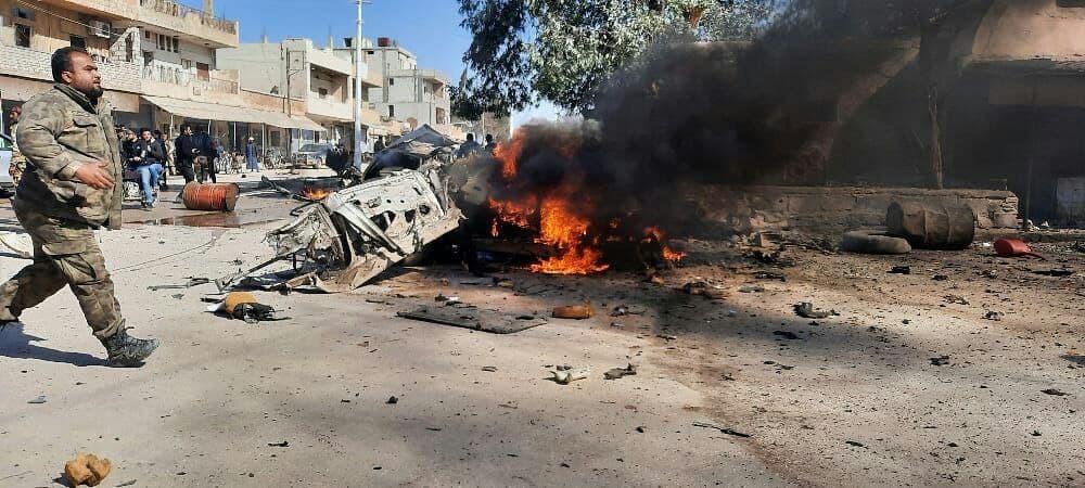 Effects of an IED explosion in Sere Kaniye (Ras Al-Ain)