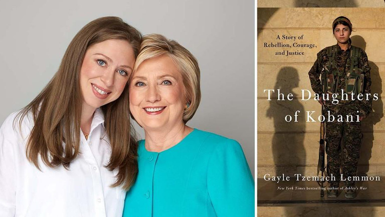 Hillary and Chelsea Clinton with The Daughters of Kobani book