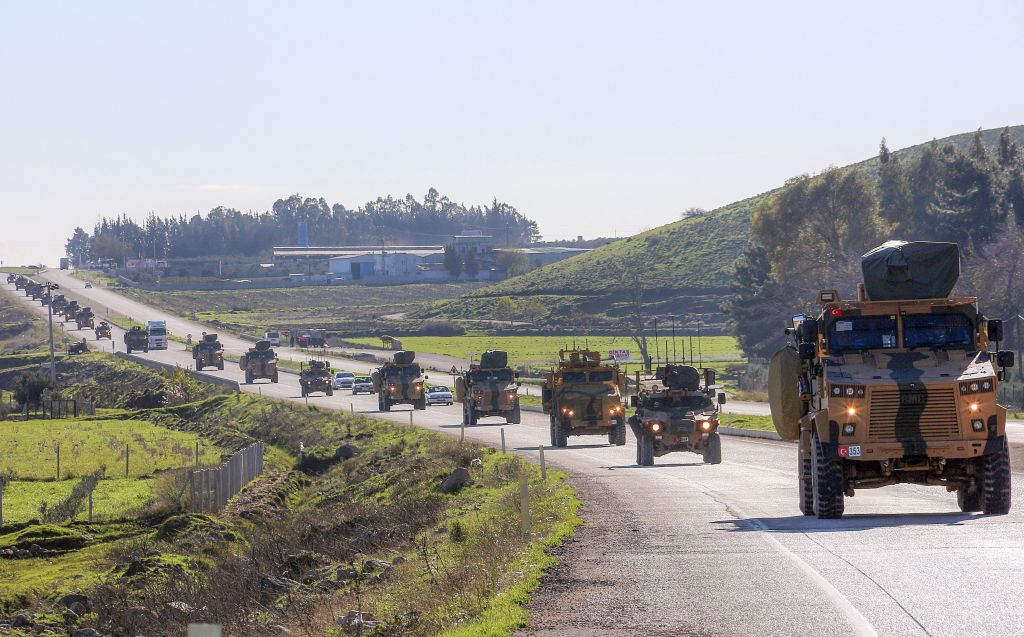 A Turkish military convoy in Syria