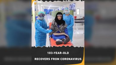 Photo of A 103-year-old woman just recovered from coronavirus in northeast Syria after 10 days of treatment.