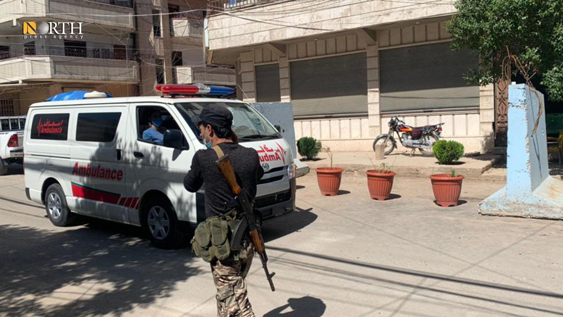 Kurdish Red Crescent ambulances arrive at Shahid Khabat Hospital in Qamishli- North Press