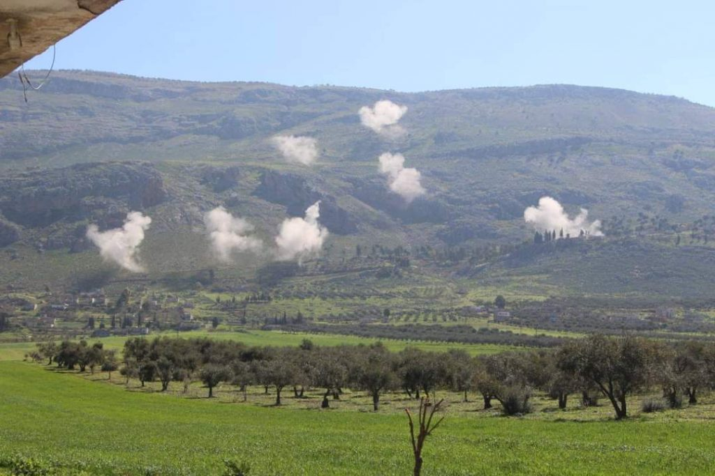 Previous government bombing on Ghab Plain areas in Hama western countryside