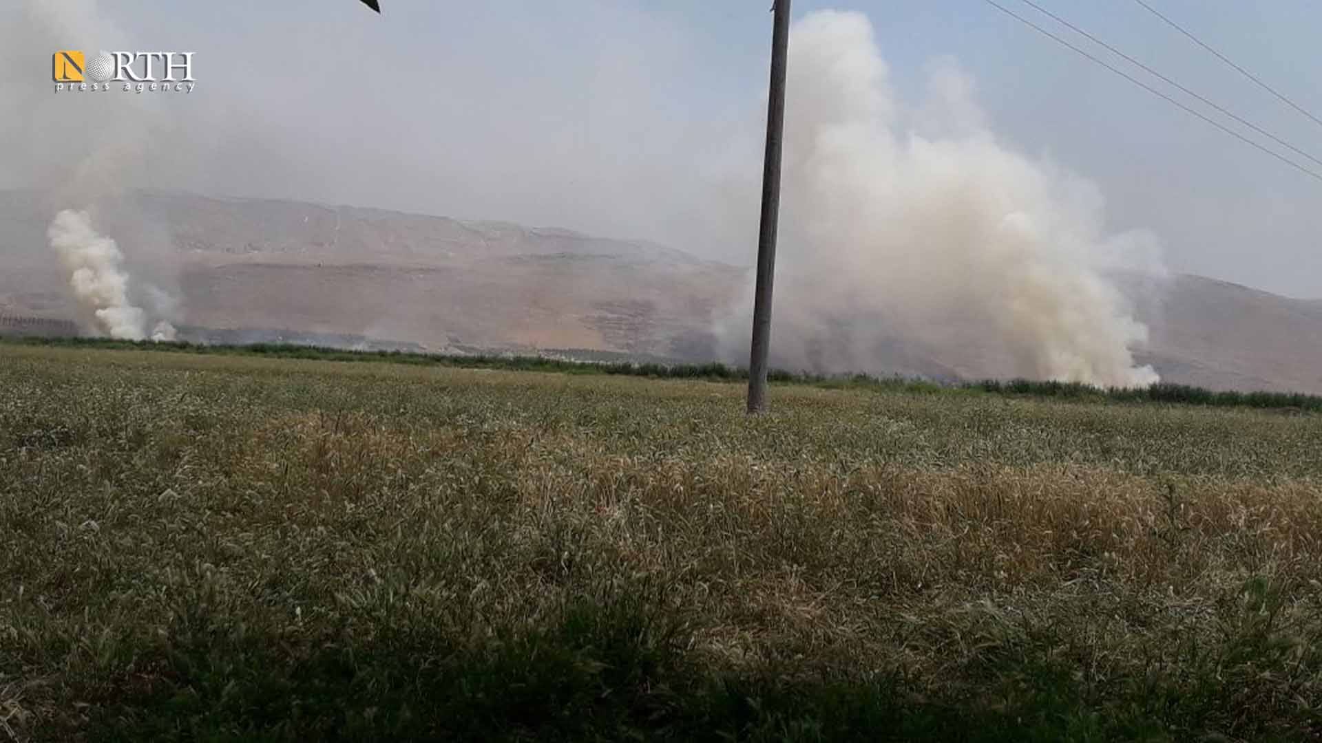 Fires in agricultural lands in Ghab Plain as a result of bombing – North Press