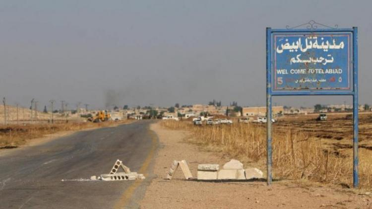 Entrance to the city of Tel Abyad, north Syria