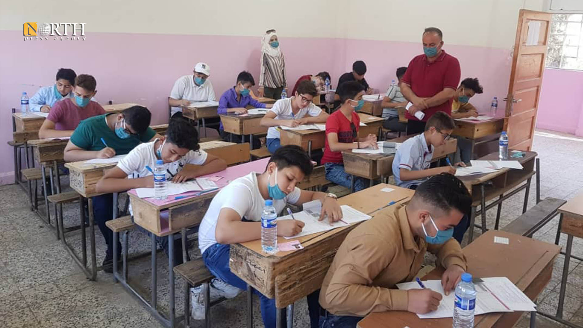 High school while setting their exams in a school in Aleppo – North Press.