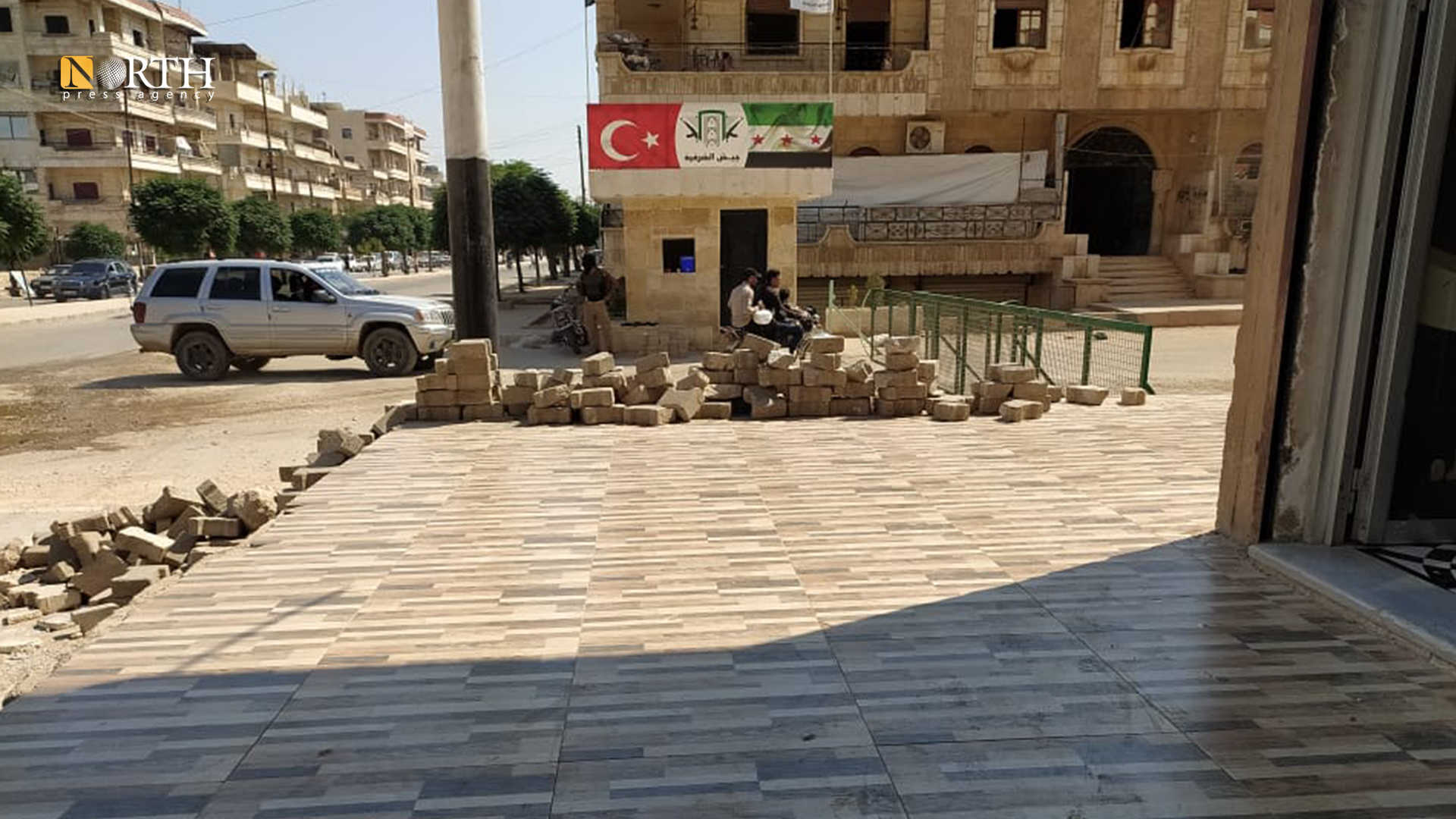 A Turkish-backed faction's checkpoint in al-Vilat Street in the city of Afrin, in Aleppo northern countryside – North Press