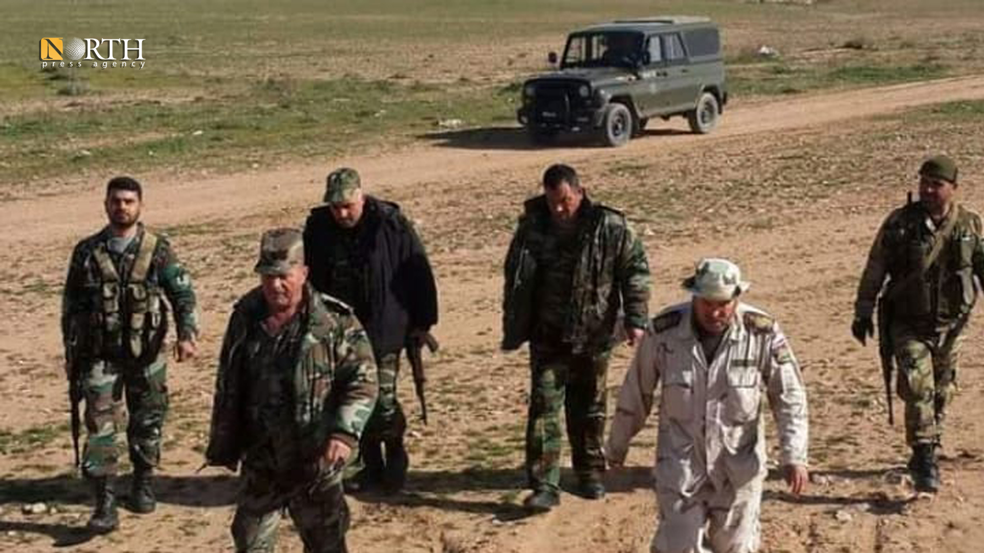 National Defense militants in Russian vehicles in the western countryside of Deir ez-Zor - Archive/ North Press