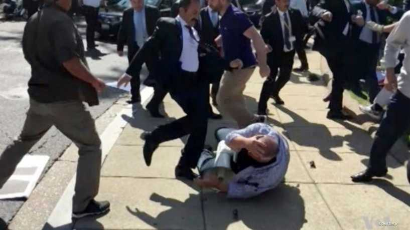 The attack of the Turkish President's bodyguards on demonstrators in Washington in 2017