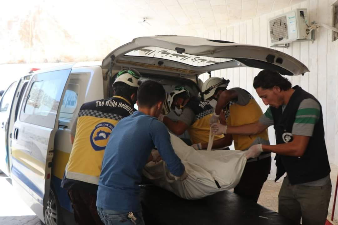 Victims of an explosion in the western countryside of Aleppo