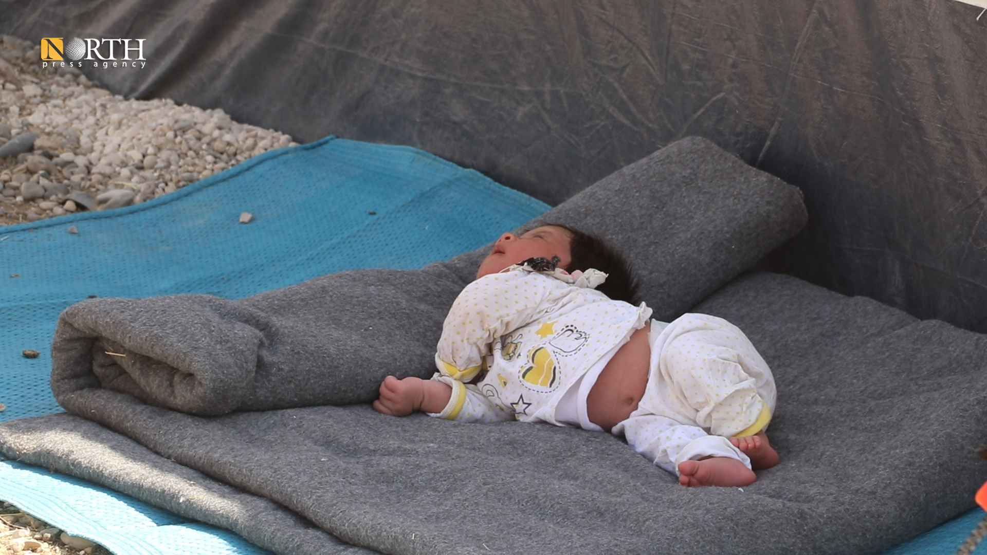 A five-day-old infant displaced from Tel Tamr due to the Turkish bombing of his village north of Hasakah – North Press