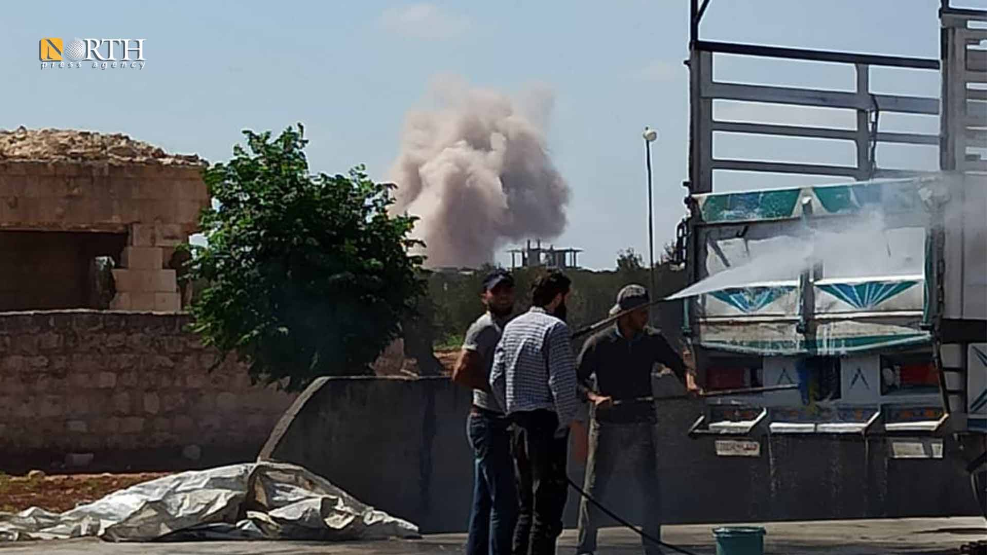 Former Russian air strikes on the outskirts of Ma'arrat Misrin town in the countryside of Idlib – North Press