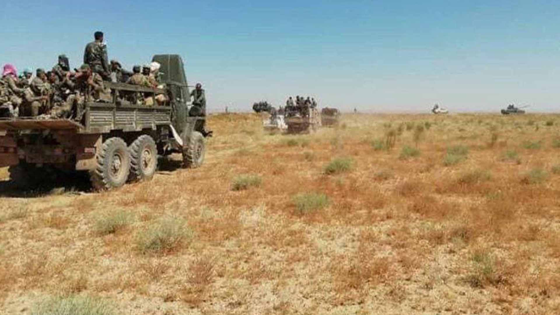 Military vehicles of the government forces in al-Shula desert, south of Deir ez-Zor