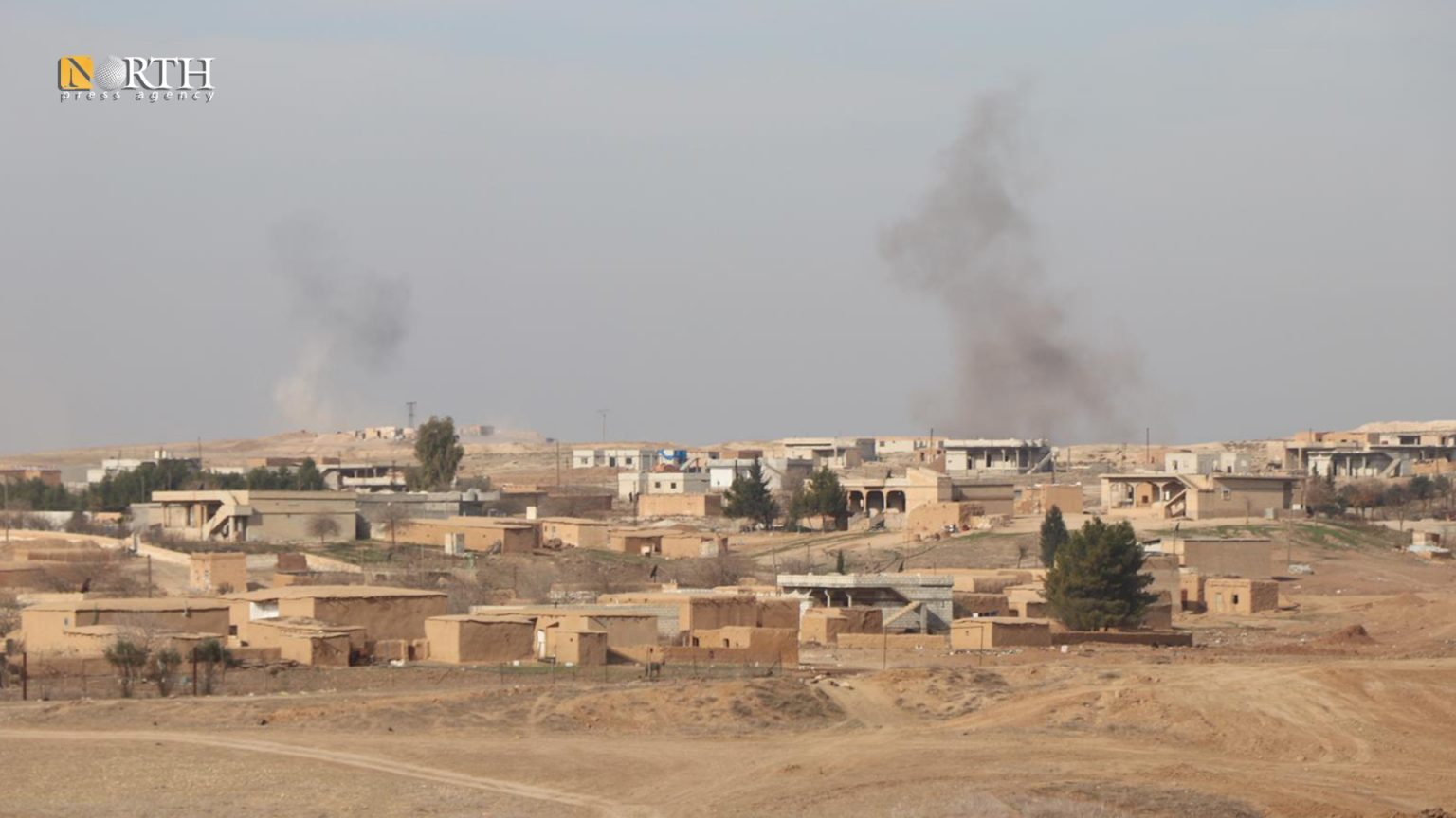 Smoke plumes rising from al-Dardara village in Tel Tamr countryside – North Press/archive
