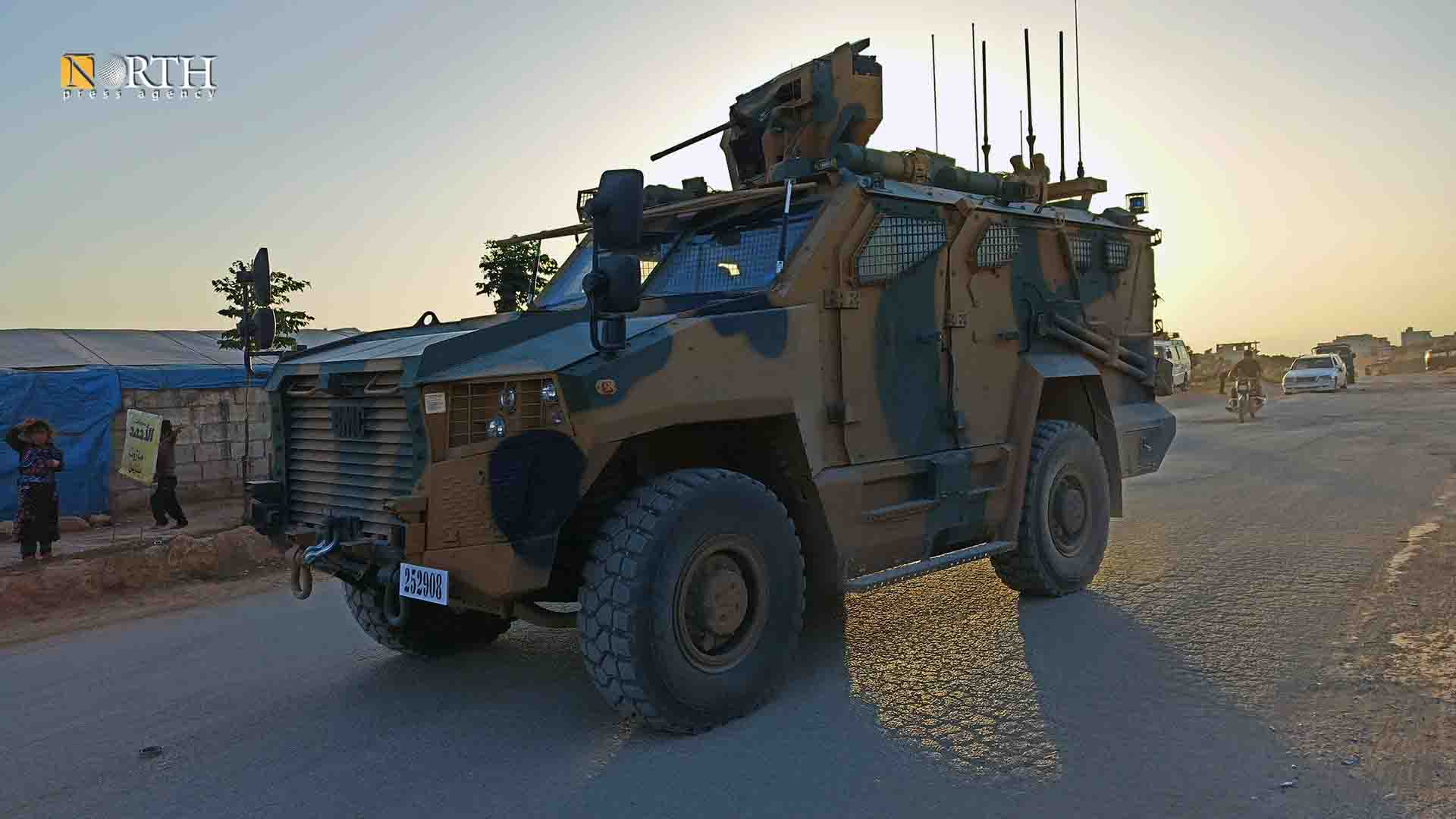 Turkish military armor on the M4 highway, North Press