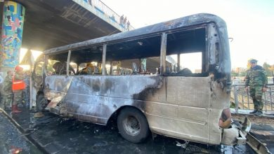 """Photo of """"Qasioun Brigade"""" claims responsibility for bus explosion in Syria's Damascus"""